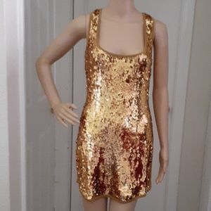 Bebe Gold Sequined Dress